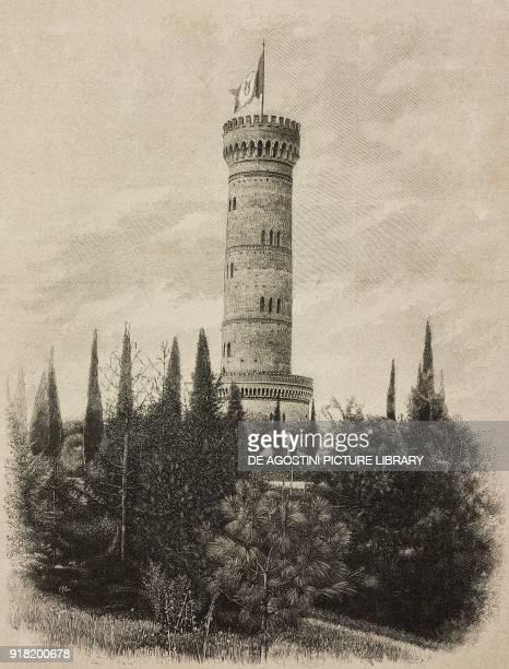 View of the monumental tower of San Martino della Battaglia Italy engraving after a photo by Guigoni Bossi from L'Illustrazione Italiana Year XX No...