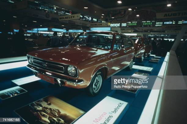 View of the Morris Motors Cars stand owned by British Leyland Motor Corporation at the annual British International Motor Show featuring the new...