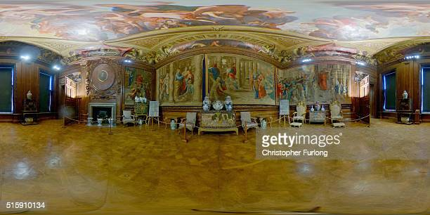 A 360 view of the Mortlake Tapestries at Chatsworth House following an intensive twoyear conservation programme on March 16 2016 in Chatsworth...