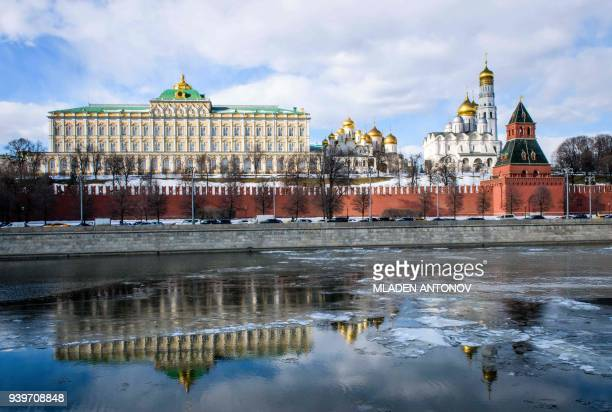 A view of the Moskva river and the Kremlin towers and cathedrals in Moscow on March 29 2018 At least 25 countries have ordered out more than 120...