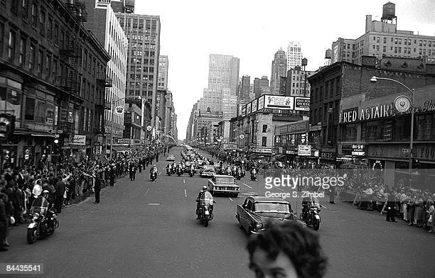 View of the motorcade carrying President Dwight Eisenhower and VicePresident Richard Nixon during their visit to New York City 1960
