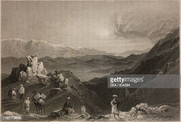 View of the Mount Hermon massif Lebanon engraving by R Dawson after a drawing by W H Bartlett from La Siria e l'Asia minore illustrate by Giorgio...