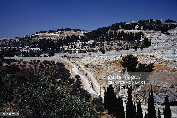 View of the Mount of Olives with the Church of All Nations and the Church of Mary Magdalene in the Garden of Gethsemane and the Kidron valley with...
