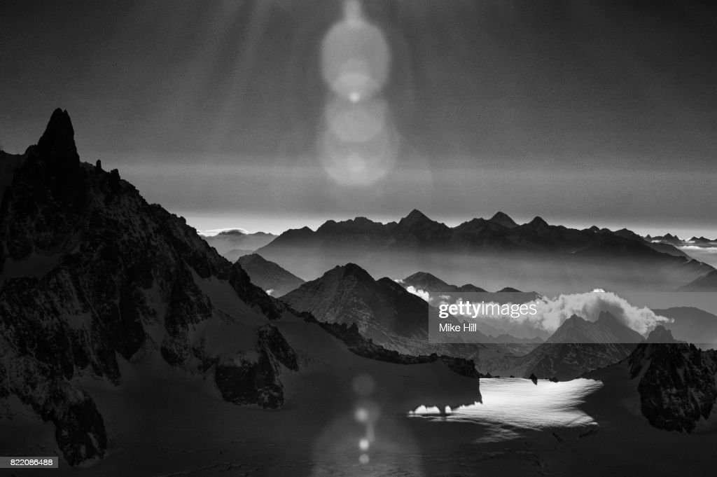 View of The Mountains and Snowfields near Mont Blanc : Stock Photo