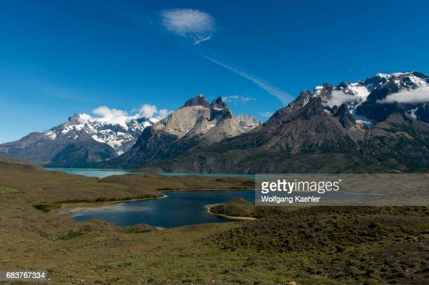 View of the mountains in Torres del Paine National Park in southern Chile