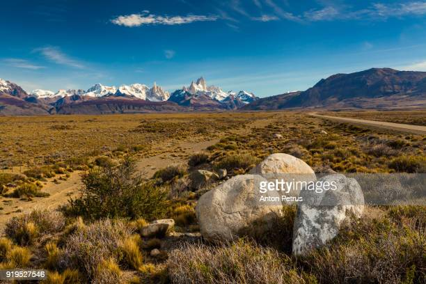 View of the mountains of Fitz Roy and Cerro Torre. Patagonia, Argentina