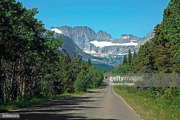 View of the mountains of the Many Glacier area of Glacier National Park from the road into the park from Babb Montana The Many Glacier area is in the...