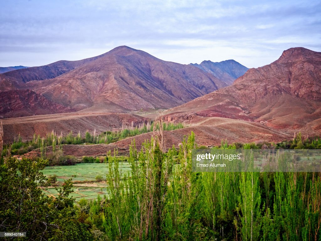 View of the mountains opposite the red village Abyaneh in Natanz County, Isfahan Province, Iran - 28 April 2017 : Stock Photo