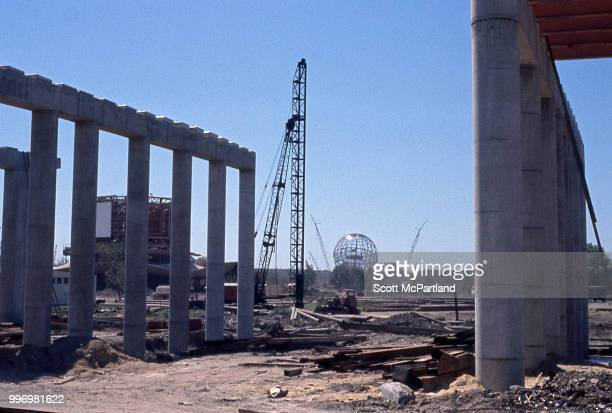 View of the muddy construction site for the 1964/1965 World's Fair in Corona Queens New York New York July 1 1963 Visible in the center background is...
