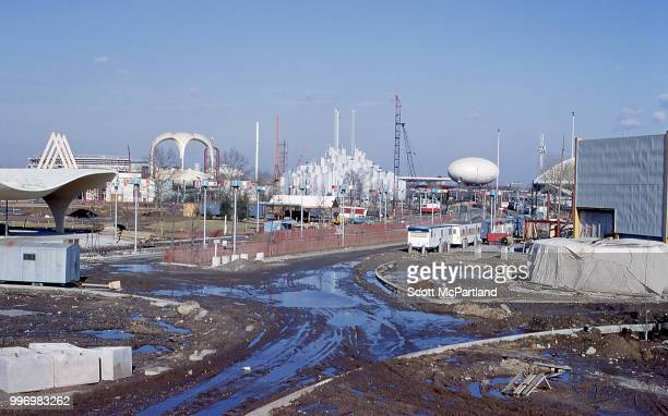 View of the muddy construction site for the 1964/1965 World's Fair in Corona Queens New York New York January 1 1964