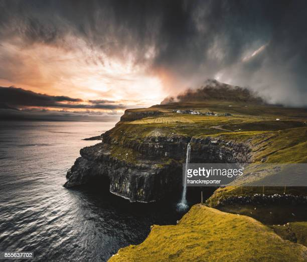 view of the mulafossur waterfall in gasadalur - gullfoss falls stock photos and pictures