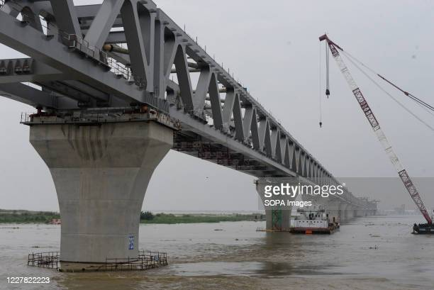 View of the multipurpose road-rail Padma bridge under construction. The Padma Bridge is a mega Bangladeshi project financed by the country itself. It...