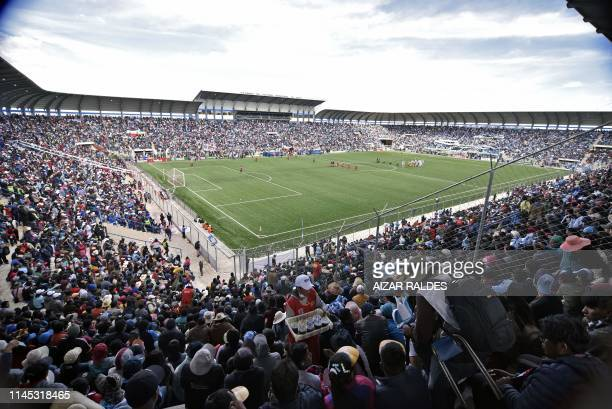 View of the Municipal Stadium in El Alto Bolivia on April 27 2019 Located at 4095 metres above sea level the Municipal stadium of Bolivia first...