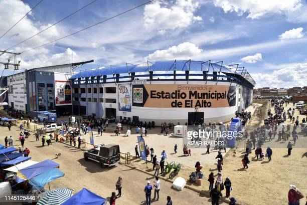 View of the Municipal Stadium in El Alto, Bolivia on April 27, 2019. - Bolivian referee Victor Hugo Hurtado died on May 19 after collapsing in the...