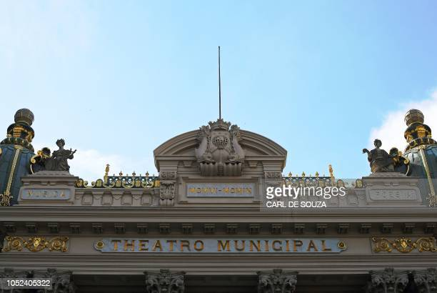 View of the Municipal Theater in Rio de Janeiro Brazil on October 10 2018 In 2017 the ravages of Brazils economic crisis hit hard and many of the...