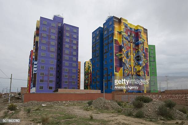 View of the murals painted by Roberto Mamani Mamani on a goverment´s social housing project called urbanizacion Whipala in El Alto Bolivia on...