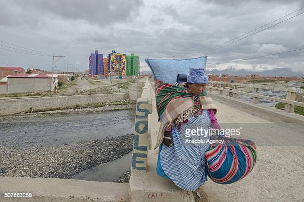 """View of the murals painted by Roberto Mamani Mamani on a goverment´s social housing project called """"urbanizacion Whipala"""", in El Alto, Bolivia on..."""