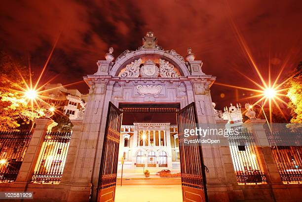 A view of the Museo del Prado seen through the entrance of the Parque Buen Retiro in Madrid on May 20 2010 in Madrid Spain Madrid is a big European...
