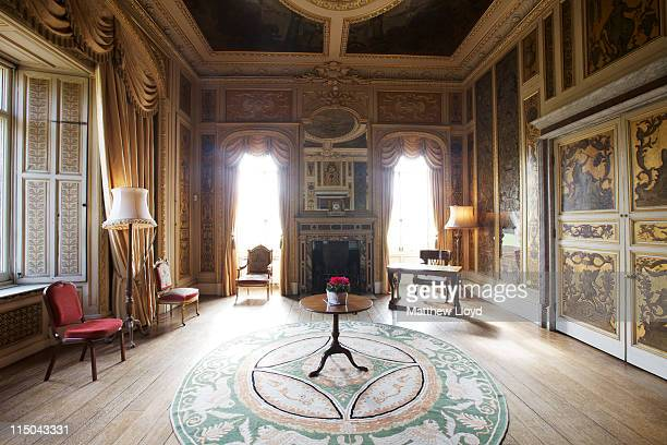 View of the music room in Highclere Castle on March 15, 2011 in Newbury, England. Highclere Castle has been the ancestral home of the Carnarvon...