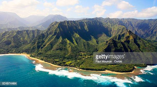View of the Na Pali Coast as seen from from helicopter on the island of Kauai in Hawaii