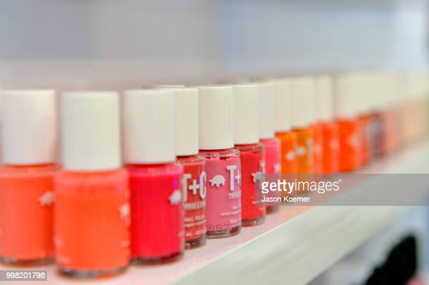 A view of the nail polish on display during Anie Louis Lux Swimwear Collection Summer 2018 on July 13 2018 in Miami Beach Florida