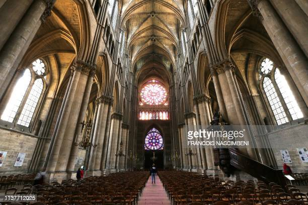A view of the naive and vaulting of the medieval Roman Catholic NotreDame de Reims Cathedral also known as Our Lady of Reims on April 17 which was...