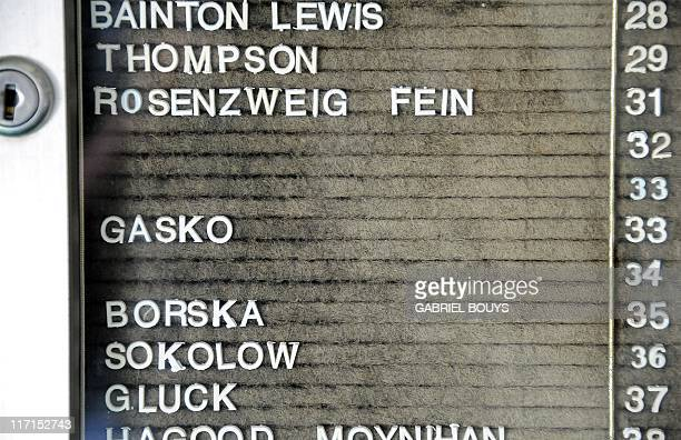 "View of the names of the tenants of the Princess Eugenia building in Santa Monica, California, on June 23 where James ""Whitey"" Bulger was arrested..."