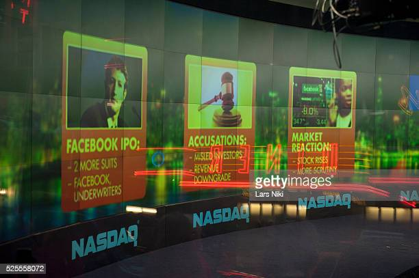 View of the NASDAQ MarketSite Broadcast Studio in Times Square in New York City. Facebook and a number of banks are being sued by Facebook...