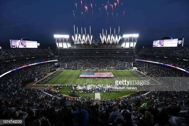 A view of the national anthem prior to the NFL game between the Oakland Raiders and the Denver Broncos at OaklandAlameda County Coliseum on December...