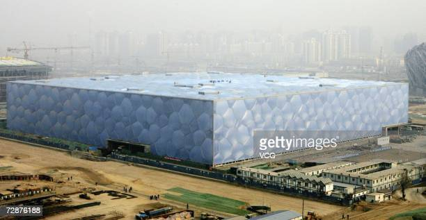 A view of the National Aquatics Center dubbed the Water Cube as construction continues December 26 2006 in Beijing China Organizers of 2008 Olympics...