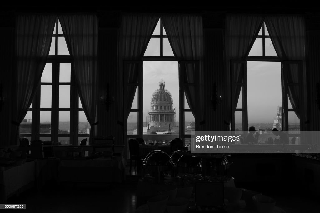 A view of the National Capitol Building is seen from inside the Hotel Sevilla in Havana on February 2, 2017 in Havana, Cuba.