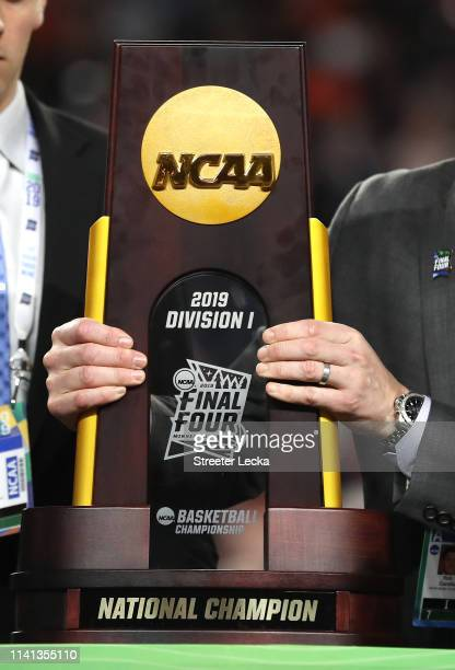 View of the national champions trophy after the Virginia Cavaliers defeated the Texas Tech Red Raiders 85-77 during the 2019 NCAA men's Final Four...