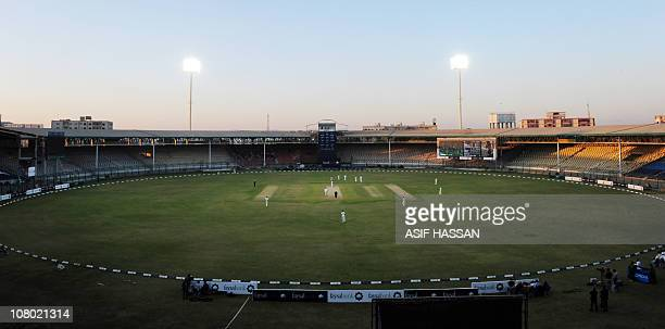 A view of the National Cricket Stadium venue of the domestic final of the QuaideAzam trophy match in Karachi on January 13 2011 The final of...