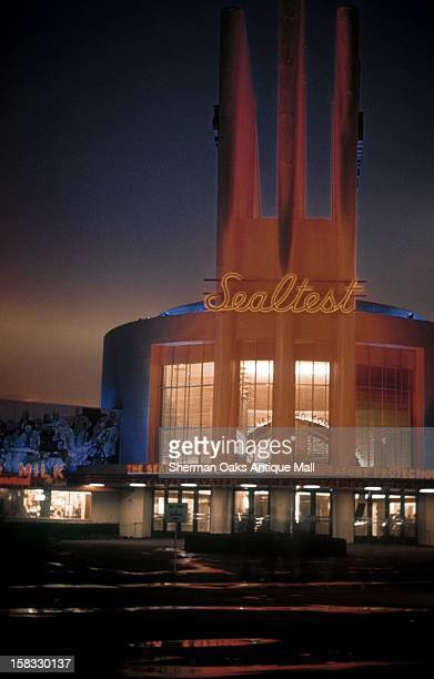 A view of the National Dairy Products Building at night at the 1939 New York World's Fair in Flushing Meadows Queens New York City New York