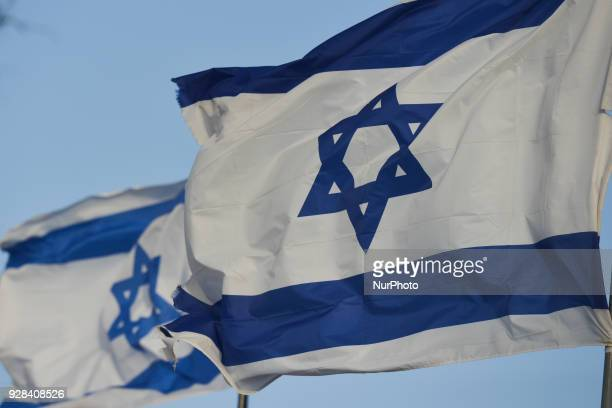 A view of the national flag of Israel in Eilat city center On Tuesday March 6 in Eilat Israel