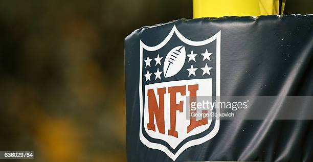 View of the National Football League shield logo on a goal post during a game between the Dallas Cowboys and the Pittsburgh Steelers at Heinz Field...