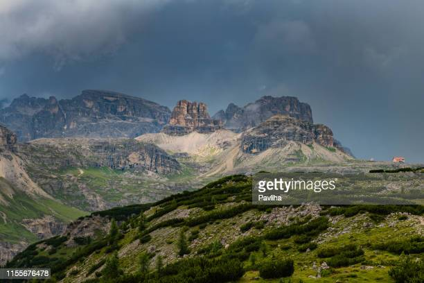 view of the national park tre cime di lavaredo, south tyrol. location auronzo, dramatic cloudy sky, dolomites, european alps, italy,europe - belluno stock pictures, royalty-free photos & images