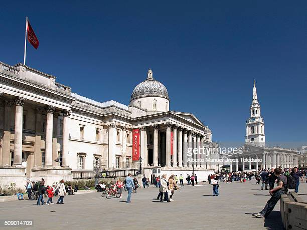 View of the National Portrait Gallery and St. Martin in the Field in Trafalgar square.
