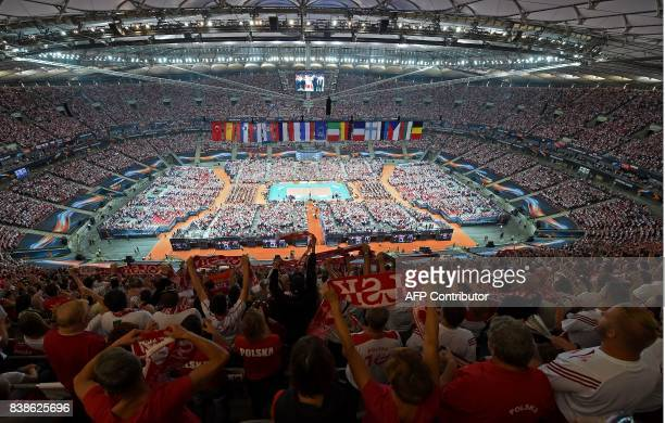 TOPSHOT View of the National Stadium during the opening match between Poland and Serbia during the CEV Men's Volleyball European Championship on...