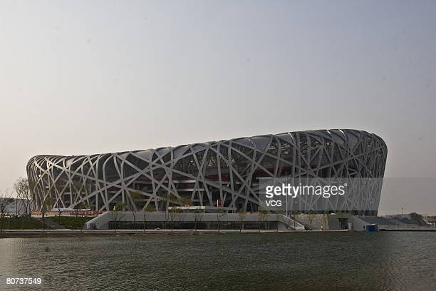 View of the National Stadium which is also known as the 'Birds Nest' on April 17, 2008. The National Stadium opened to media since Wednesday. The...