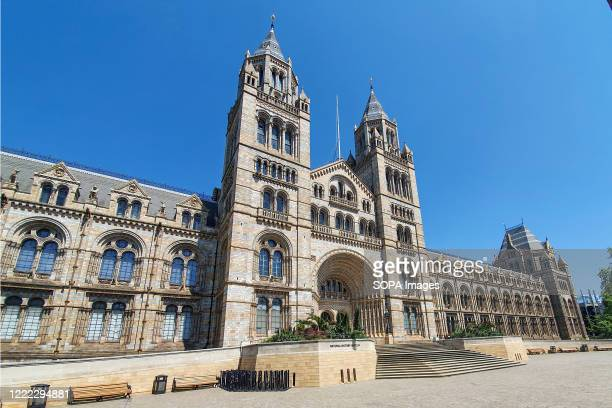 View of the Natural History Museum seen on the day British Prime Minister Boris Johnson announced museums & galleries can reopen in England starting...
