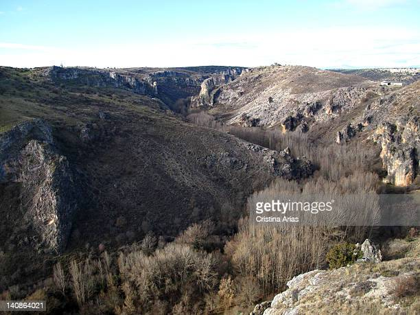 View of the Natural Park of the Dulce River from the lookout dedicated to the naturalist and divulger Felix Rodriguez de la Fuente La Pelegrina...
