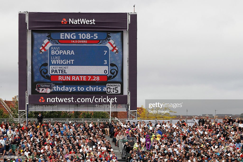 A view of the NatWest scoreboard during the NatWest International