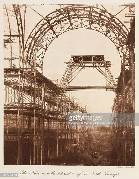 View of the nave and intersection of the north transept which burnt down in 1866 The Crystal Palace was built to house the 'Great Exhibition of the...