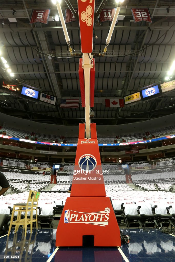 A view of the NBA Playoff logo is seen before the game between the Atlanta Hawks and the Washington Wizards during the Eastern Conference Quarterfinals of the 2017 NBA Playoffs on April 16, 2017 at Verizon Center in Washington, DC.