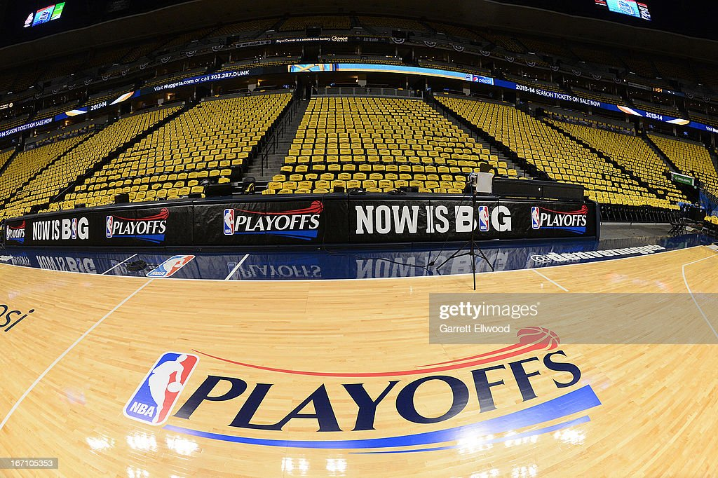 """A view of the """"NBA Playoffs"""" logo on the court before Game ..."""