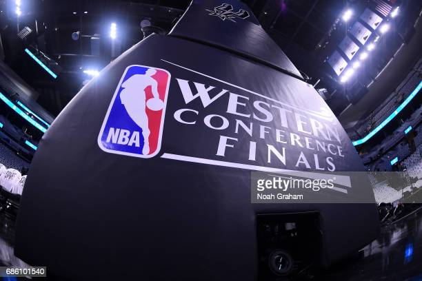 A view of the NBA Western Conference Finals logo is seen before the game between the Golden State Warriors and the San Antonio Spurs in Game Three of...