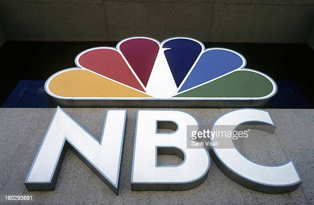 View of the NBC logo outside their Burbank studios in 1991 in Los Angeles, California.