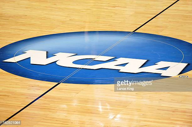 A view of the NCAA logo at center court during a game between the Vermont Catamounts and the North Carolina Tar Heels in the second round of the 2012...
