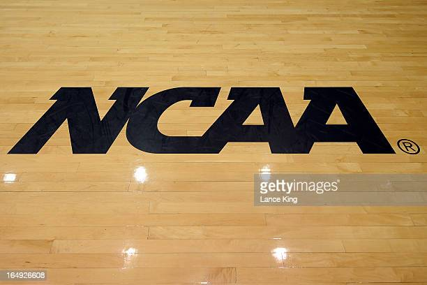 A view of the NCAA logo prior to a game between the Oklahoma State Cowgirls and the Duke Blue Devils during the second round of the 2013 NCAA Women's...